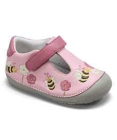 Take a look at this MOMO Baby Pink Bumblebees T-Strap Shoe today!