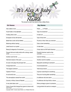 Baby shower game that would be a fun Life Skills activity when we study meanings of names
