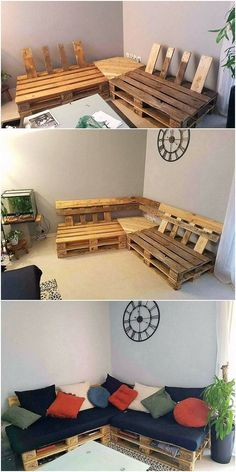 Perfect Ideas for Old Wood Pallets Repurposing -You can find Pallet sofa and more on our website.Perfect Ideas for Old Wood Pallets Repurposing - Pallet Garden Furniture, Patio Furniture Cushions, Diy Furniture, Patio Cushions, Furniture Assembly, Furniture From Pallets, Palette Furniture, Corner Furniture, Furniture Websites