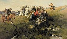 Cossacks fighting Tartars of Crimea.  The number of Crimean Tatars is estimated at 650,000. The Crimean Tatars emerged as a nation at the time of the Crimean Khanate. The Crimean Khanate was a Turkic-speaking Muslim state which was among the strongest powers in Eastern Europe until the beginning of the 18th century.
