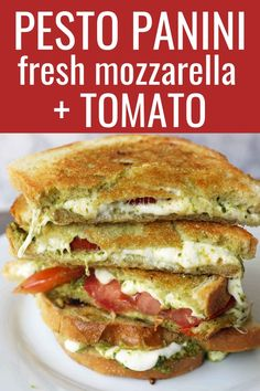 Pesto Panini with Fresh Mozzarella and Tomato. A toasted buttery panini with basil pesto, melted fresh mozzarella cheese, and juicy tomatoes. Pesto Sandwich, Grilled Sandwich, Panini Sandwich Recipes, Tomato Mozzarella Sandwich, Chicken Pesto Panini, Sandwich Melts, Breakfast Sandwich Recipes, Sandwich Bar, Sandwich Spread