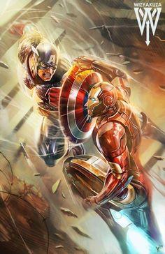 "kamisamafr: ""Captain America vs Iron Man by Wizyakuza """