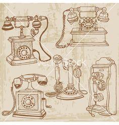 Vintage telephones set vector