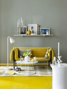 Just lovethe combination of yellow and grey decor together - more accenting ideas @BrightNest Blog