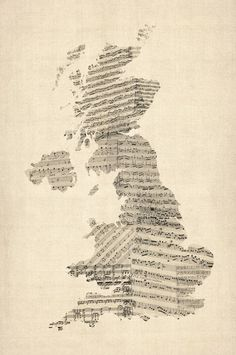 """""""Great Britain UK Old Sheet Music Map"""" by Michael Tompsett, Castellon // Imagekind.com -- Buy stunning, museum-quality fine art prints, framed prints, and canvas prints directly from independent working artists and photographers."""