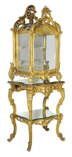 Italian rococo giltwood vitrine cabinet on stand Late 18th Century