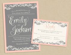 Printable Wedding Invite and RSVP Invitation Set  by seedtosprout, $30.00