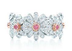 Think Pink! Wear Your Pink Gems for Breast Cancer Awareness ❦ Jean Schlumberger Daisy Ring with fancy vivid pink diamonds by Tiffany & Co.