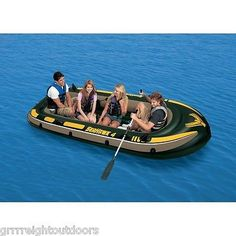INTEX Seahawk 4 Inflatable Rafting/Fishing Boat Set  68351EP Lake River Oars