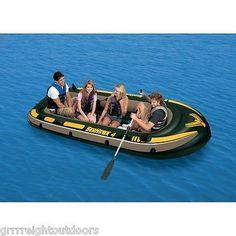INTEX Seahawk 4 Inflatable Rafting/Fishing Boat Set  68351EP Lake River Oars