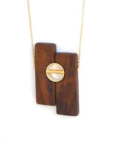 Wood pendant necklace, Wood and gold necklace, Wooden necklace, One-Of-A-Kind…