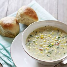 Potato Corn Chowder with Kale and Bacon Recipe Soups with sweet corn, olive oil, water, butter, yellow onion, celery, garlic, flour, whole milk, chicken broth, russet potatoes, salt, pepper, cayenne pepper, nutmeg, kale, cooked bacon