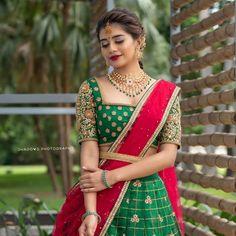 Half Saree Lehenga, Lehenga Saree Design, Lehenga Designs, Lehnga Dress, Indian Lehenga, Gown Dress, Bridal Lehenga, Half Saree Designs, Silk Saree Blouse Designs