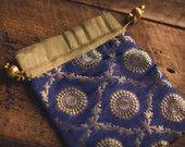 Indian Sari Saree Cobalt Royal Blue Fabric Bollywood Brocade Silk Christmas Diwali Wedding Gift Party Zari Gold Medallion Favor Morrocan Bag