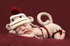 Cute sock monkey hat and diaper for pics