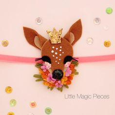 Woodland Princess Fawn Deer Headband Felt by LittleMagicPieces Felt Headband, Baby Headbands, Bambi, Felt Hair Accessories, Ribbon Sculpture, Glitter Fabric, Felt Ornaments, Baby Bows, Felt Animals