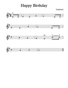 Free Violin Sheet Music - Happy Birthday To You