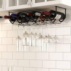 Mccandless 5 Bottle Wall Mounted Wine Bottle and Glass Rack Hanging Wine Glass Rack, Wine Glass Storage, Wine Glass Holder, Wine Glass Set, Wine Bottle Storage Ideas, Bottle Wall, Wine Bottle Holders, Kitchen Set Up, Kitchen Ideas