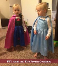 DIY Anna and Elsa Frozen Halloween costumes. Cape and dress! So cute.