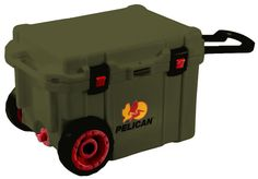 Pelican 45 Quart OD Green Wheeled Elite Cooler - Up to 10 days ice retention, Built in trolley handle with molded-in handles Press & Pull Latches (Wide for Gloved Use), Molded-In Tie Downs, Non-Skid & Non-Marking Raised Feet, Molded-In Lock Hasp, Stainless Steel Plate, Sloped Drain & Tethered Threaded Plug (Garden Hose Attachable), Corrosion Resistant Stainless Steel Hardware, Integrated Fish Scale on Lid,Heavy duty wheels, Built in bottle opener & Guaranteed for life. MADE IN USA.