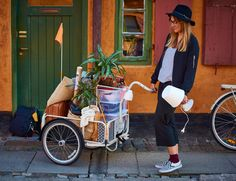 A bicycle trailer filled with boxes, grocery bags and a green plant. ikea