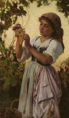 """Pre-Raphaelite Painting: """"The Last Of The Day,"""" by Sophie Gengembre Anderson (French, 1823 - Falmouth, Pre Raphaelite Paintings, Sophie Anderson, Biblical Womanhood, Web Gallery, Oil Painting Reproductions, Italian Girls, Romanticism, Married Woman"""