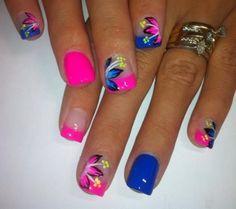Cute summer bright nail designs 2015 - Styles 7  #nails #brightsummeracryrlicnails #summernails Fancy Nails, Cute Nails, Pretty Nails, Bright Nail Designs, Nail Art Designs, Nails Design, Nail Designs Hot Pink, Blue Nails With Design, Summer Nail Designs