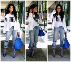 T.J. Maxx Handbag, 7 For All Mankind Boyfriend Jeans, Shoedazzle Heels, H&M Dirty Heels Tee, Romwe Blazer