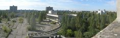 Pripyat panorama - town square and tallest building in background