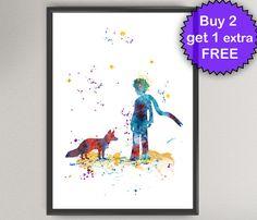 El pequeño príncipe Nº25 lámina poster acuarela - Le Petit Prince y fox arte tintas Saint-Exupéry para niños arte Arte de pared imprimir cartel