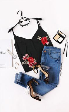 Black Double V Neck Cami Top With Embroidered Patch Season : Summer Color : Black Pattern Type : Plain Neckline : V Neck Material : 100% Polyester Style : Vintage Decoration : Embroidery Size Available : XS,S,M,L