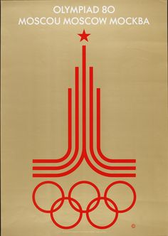 Official Poster for Moscow Olympic Games, 1980 Vladimir Arsentyev ©Courtesy IOC / Victoria and Albert Museum V: Colour lithograph Poster Retro, Vintage Posters, Rio 2016 Logo, Design Poster, Graphic Design, Poster Designs, History Of Olympics, Mexico 68, Olympic Logo