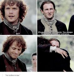 """""""You always knew how to make an entrance"""" - Jamie and Ian #Outlander"""
