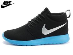 new styles e90c2 3f227 2013 Mens Nike Roshe One High Anti Fur Waterproof Running Shoes Black  Bright Blue,Nike-Nike Roshe One Shoes Sale Online