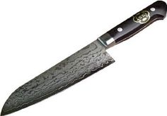 HONMAMON Santoku Hocho (All-Purpose Kitchen Knife) 170mm with beautiful Damascus Pattern, Blade Edge : VG10, Double Bevel