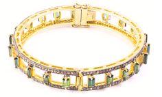 Green tourmaline and diamond bangle bracelet