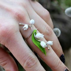 Lily of the valley 925 Sterling Ring, Floral Jewelry, Silver Adjustable Ring