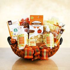 Fall Pumpkin Spice Serenity Spa $59.99 This delightful spa gift basket with festive plaid bow, features spiced pumpkin scented bath products, rich in nutrients that will boost skin health and hydration. Features Spiced Pumpkin shea butter lotion,luxurious hand soap,exfoliating loofah, milled Spiced Pumpkin body bar, Via Orange Valencia Refresher drinks,Pumpkin Pie dessert cookies, California almonds and dried sweet California apricots. Standard Delivery $15.95 - Ships from CA
