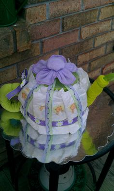 Pretty Lil Teapot Diaper Cake by BabyCreationsByJess on Etsy Baby Shower Crafts, Shower Bebe, Tea Party Baby Shower, Baby Shower Diapers, Baby Crafts, Shower Gifts, Pamper Cake, Diaper Cake Instructions, Babyshower