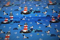 Kinderstoffe - Stoff Jersey Leuchtturm Möwen Schwalben maritim - ein Designerstück von Stoffharmonie bei DaWanda Designer, Kids Rugs, Etsy, Home Decor, Lighthouse, Light Fixtures, Decoration Home, Kid Friendly Rugs, Room Decor