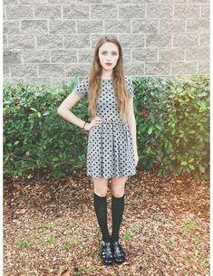 Asos Polka Dot Dress, Target Black Knee High Socks, American Apparel Juju Babe Jelly Sandals