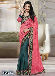 Majestic Grey Coloured Net Brasso Designer saree