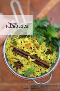 Try my fragrant pilau rice recipe with savory spices such as cloves, cardamom, ginger, cinnamon and turmeric!