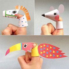 Tierische Fingerpuppen aus Papier.
