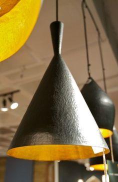 "Hammered Iron Pendant Light - Large Cone; Dark Brown exterior; Gold interior;17"" high x 10"" diameter; $175"