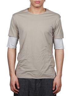 Top Homme - ATTACHMENT SS16 - Tee-shirt Double - Beige - serie     NOIRE