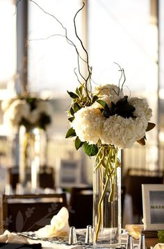 sticks and hydrangea wedding centerpieces | Wedding! / Tall centerpiece - white hydrangeas, no sticks