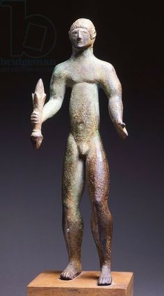Bronze statuette of Tinia with thunderbolt, from Firenzuola. Etruscan civilization, 5th Century BC. Artwork-location: Cortona, Museo Dell'Accademia Etrusca (Archaeological Museum)