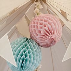 Paper fan balls in peppermint & pink for marquee wedding decoration