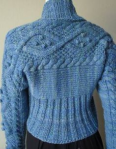 Ravelry free pattern Crystal Palace Yarns, Aran Cabled Shrug
